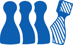 A striped chess pawn standing out among a line of solid-colored pawns
